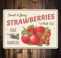 Signe retro Vintage 8x12  fraises baies Fruits amusants  legumes nourriture douce  decor mural dete  decoration de maison