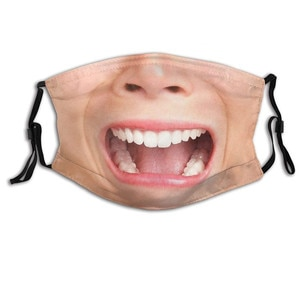 Fashion Adult  funny Print Adjustable Mask Mouth Cover Face funny Washable Protective Reusable Halloween Cosplay Mouth Masks