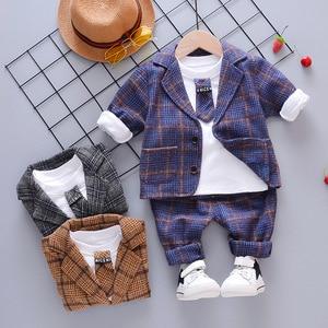Spring and autumn children's plaid tie lapel long sleeve three-piece suit tide Children Clothing Boy Cotton Plaid Suit trousers
