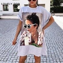 Oversized Loose Women Long T-Shirts 2021 Summer Art Beauty Print O-Neck Short Sleeve Casual Ladies T