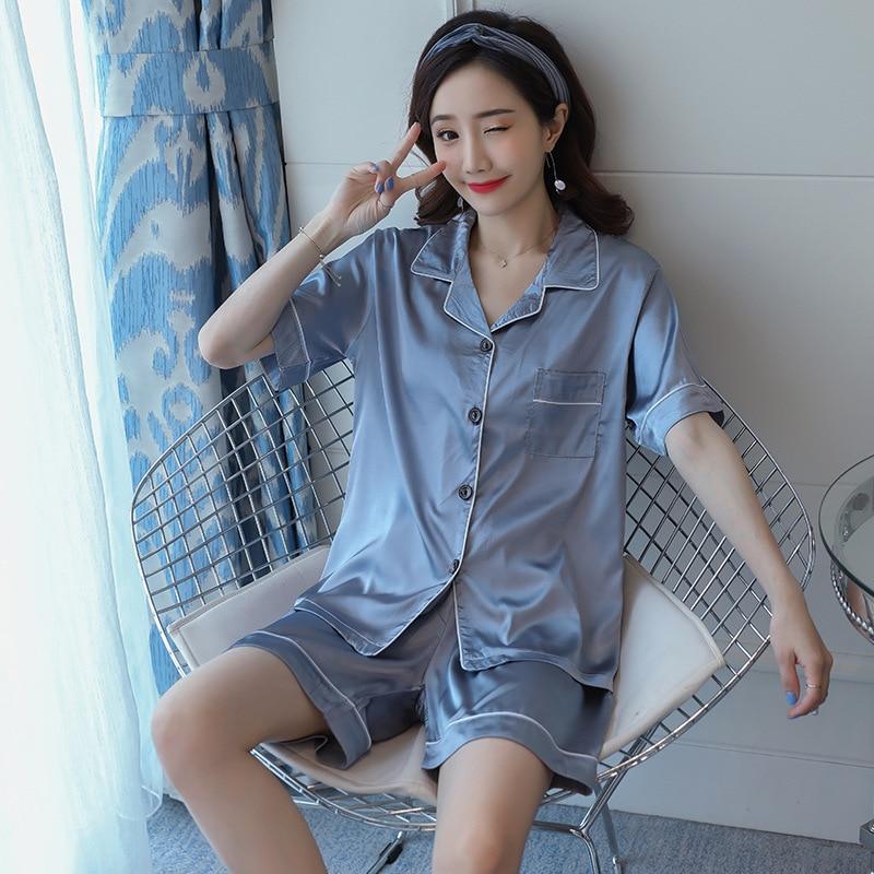 2021 Summer Women Turn-down Collar Pajamas Set Silk Satin Short Sleeve Tops+Pants 2 Pieces Set Sleep