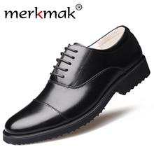 Merkmak nouvelle mode Oxford affaires hommes chaussures en cuir véritable de haute qualité doux décontracté respirant chaussures plates pour hommes chaussures zippées