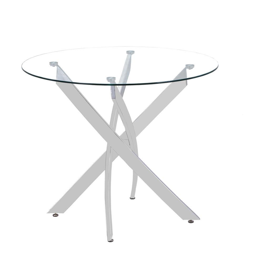 Mesa de comedor GOLDFAN redonda de vidrio templado, mesa de cocina moderna con patas cromadas de cromo para comedor (solo mesa)