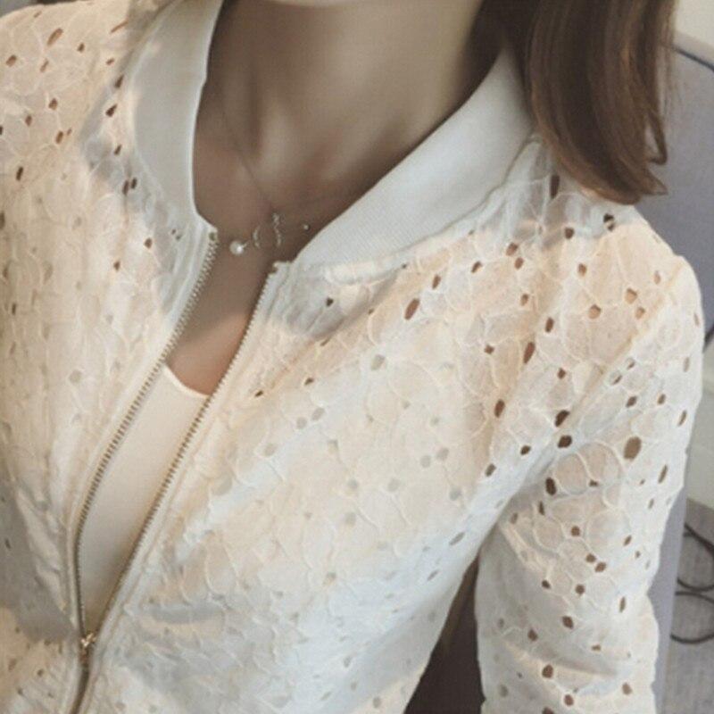 Femmes été mince veste 2020 blanc dentelle à manches longues crème solaire femmes vêtements évider respirant Bomber veste