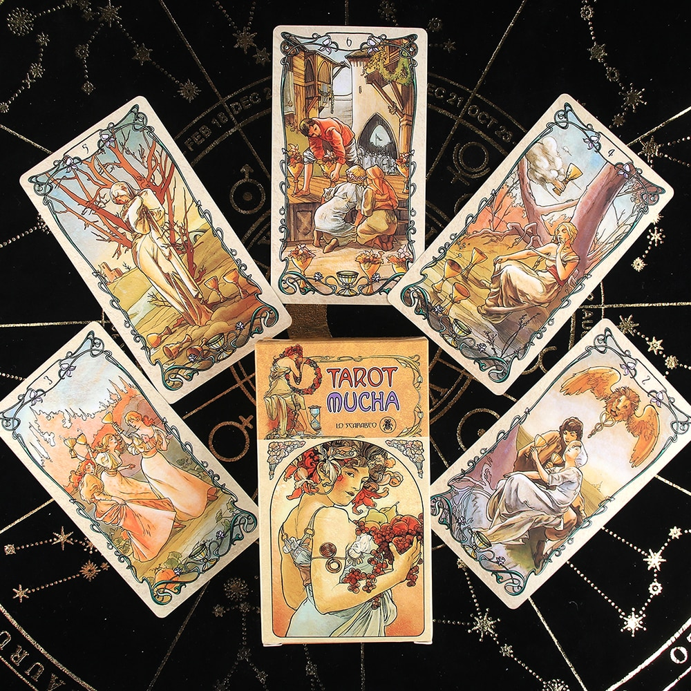 Tarot Mucha Cards Tarot Deck Card Game Toy Tarot Divination Card Game Board Guidance Divination for beginners with guidebook недорого