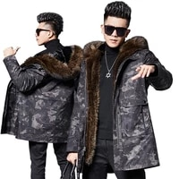 thicken dk winter pearl mink fur parkas men winter warm natural racoon dog fur clothing fashion camouflage real fur jackets