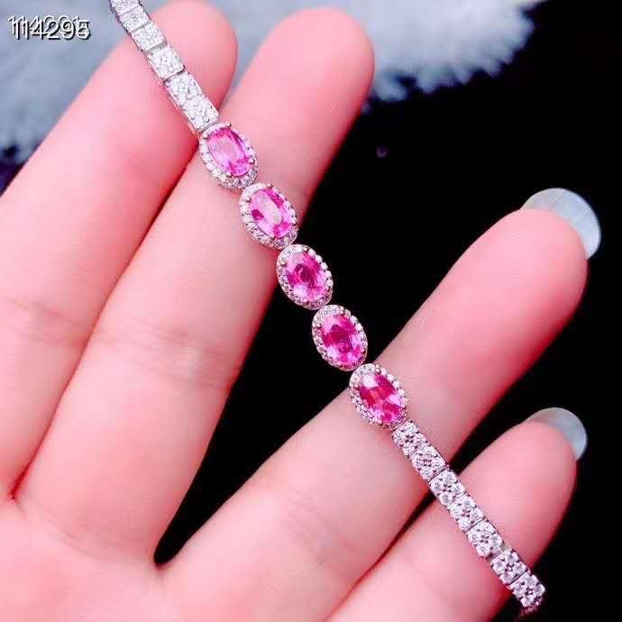 Natural Sri Lanka Ceylon Pink Sapphire Bracelet  Fine Jewelry 4x6mm