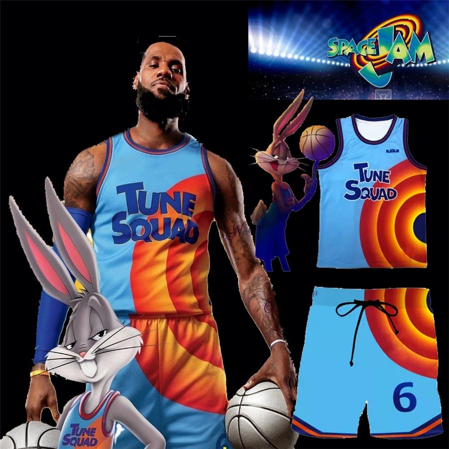 Футболка для косплея для детей и мужчин Space Jam, комплект спортивной одежды, футболка и шорты