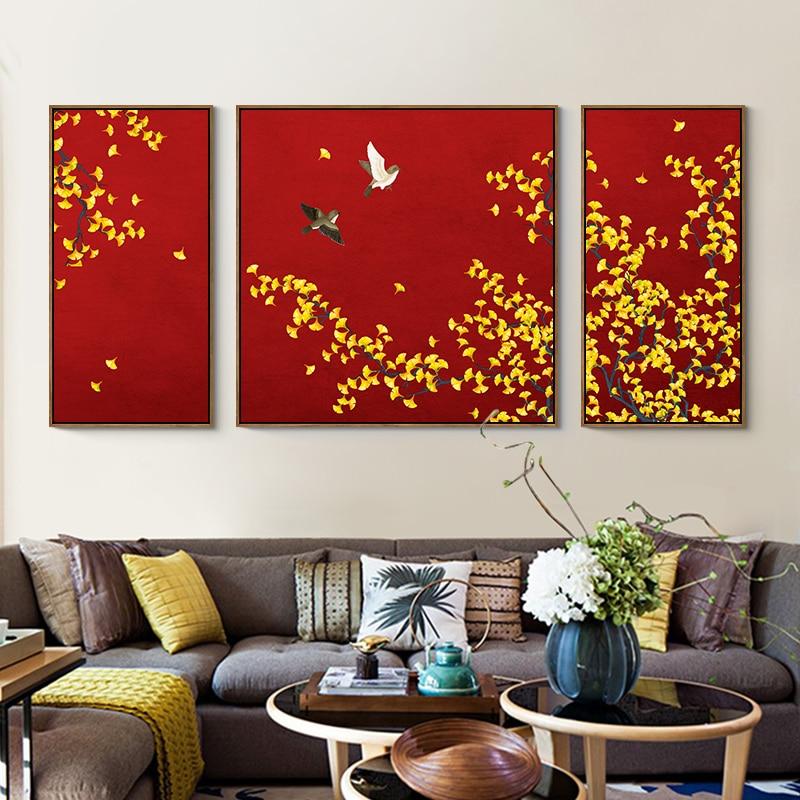 Eecamail diy pintura diamante completo bordado estilo chinês ginkgo folha flor pássaro tríptico pendurado pintura sem moldura