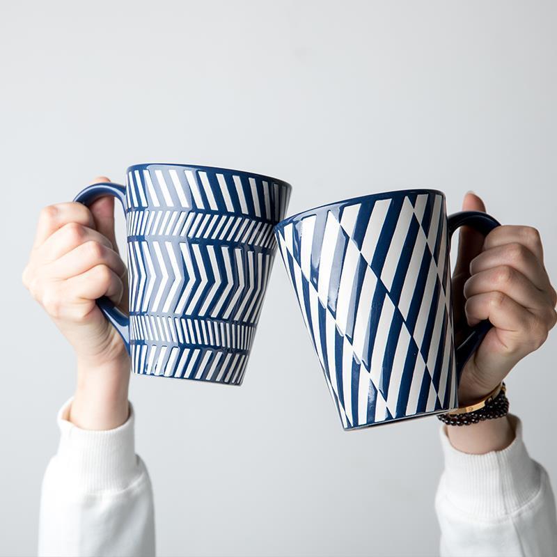الإبداعية تنقش القدح المنزلية السيراميك الحليب فنجان القهوة كوب ماء عشاق القدح فنجان القهوة فنجان شاي الخريف القدح