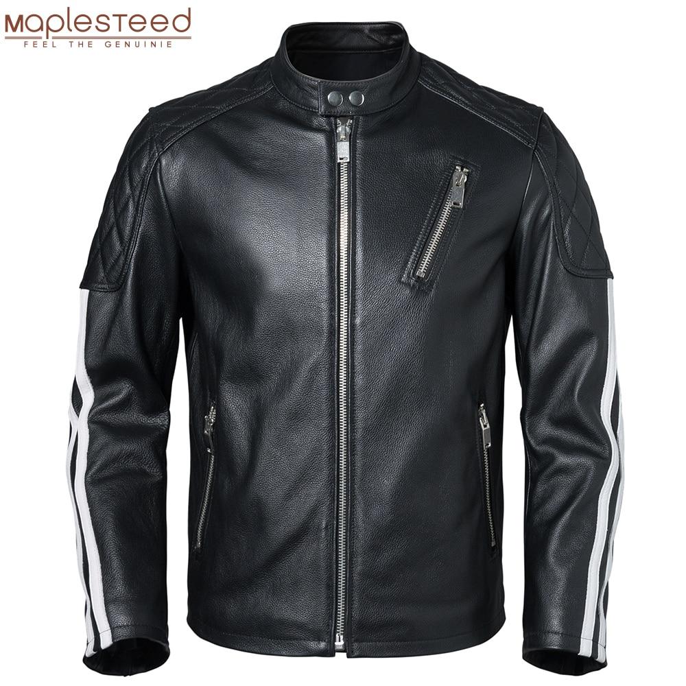 Genuine Leather Jacket Men 100% Cowhide Slim Fit White Stripes Men's Skin Coat Motorcycle Biker Clothing Autumn Asian Size M420