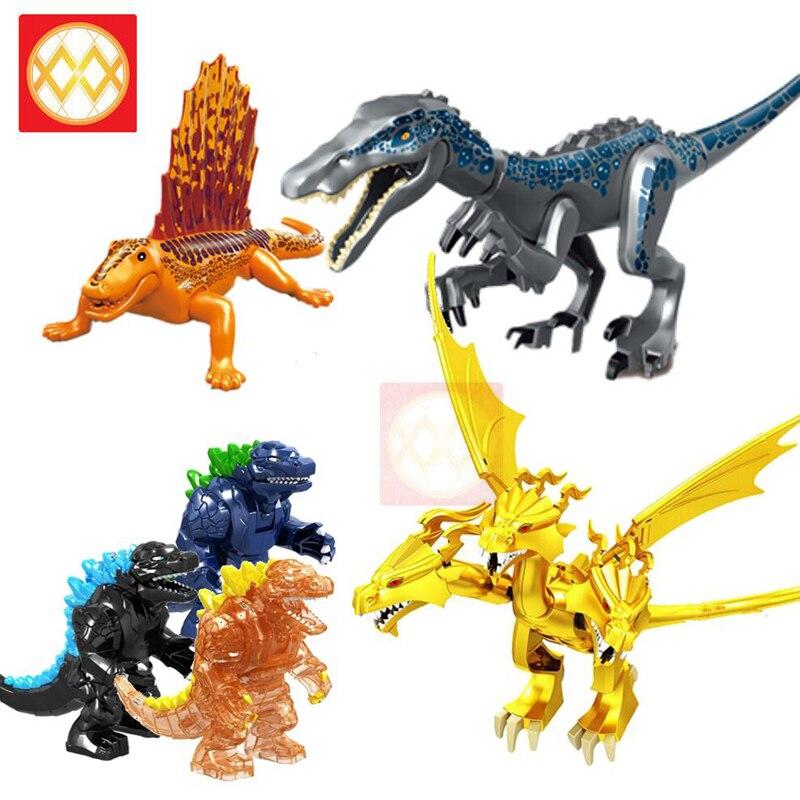 Jurásico dinosaurios lagarto garra pesada dragón Kaijiu rey Ghidrah Oso Polar Dilophosaurus bebé bloques de construcción DIY animales Juguetes