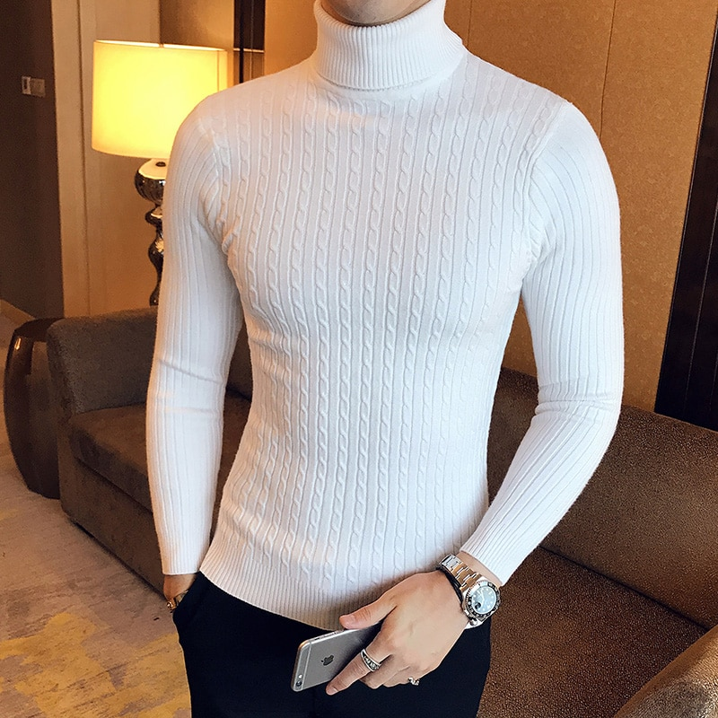 autumn and winter sweater women 2020 new slim size long sleeve bottoming shirt students korean warm sweater t shirt tide 2020 Korean Slim Solid Color Turtleneck Sweater Mens Winter Long Sleeve Warm Knit Sweater Classic Solid Casual Bottoming Shirt