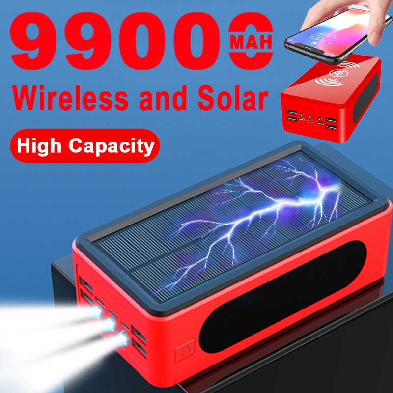 99000mAh Wireless Solar Power Bank Portable Charger Large Capacity 4USB LEDLight Outdoor Fast Charging for Samsung Xiaomi Iphone