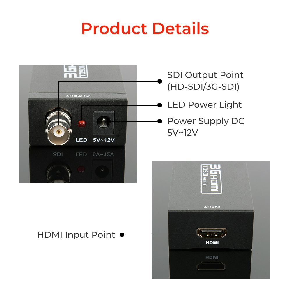 Mini HD HDMI to 3G-SDI bnc video Converter SDI to HDMI Video Converter with Adapter BNC 1080P Converter Detection for Camera enlarge