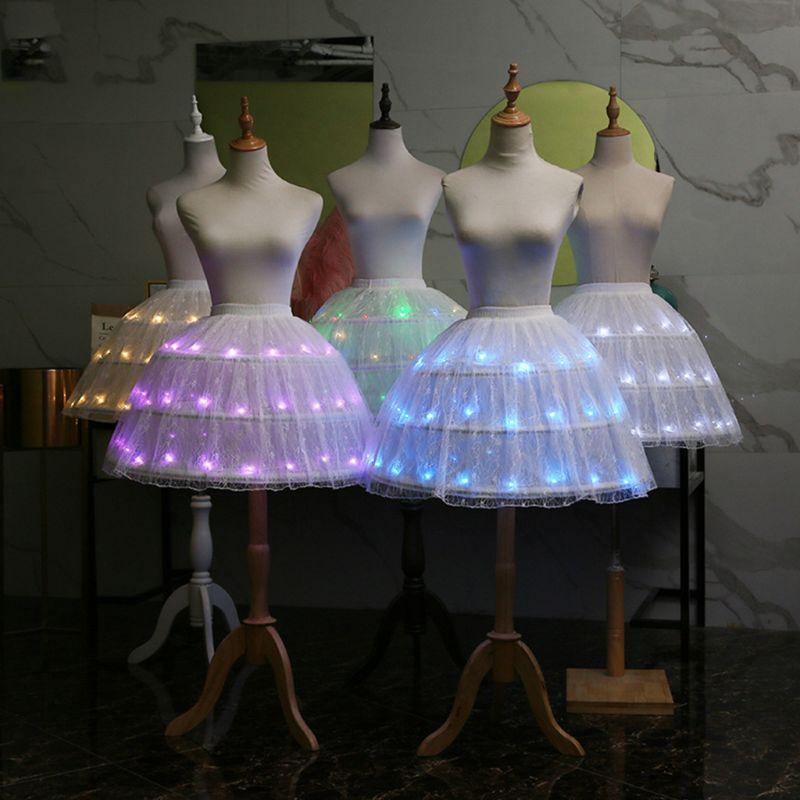 Women Lolita Cosplay Tulle Skirt Adjustable LED Light Up Luminous Ballet Dance Short Dress 3 Steel Hoops Petticoat