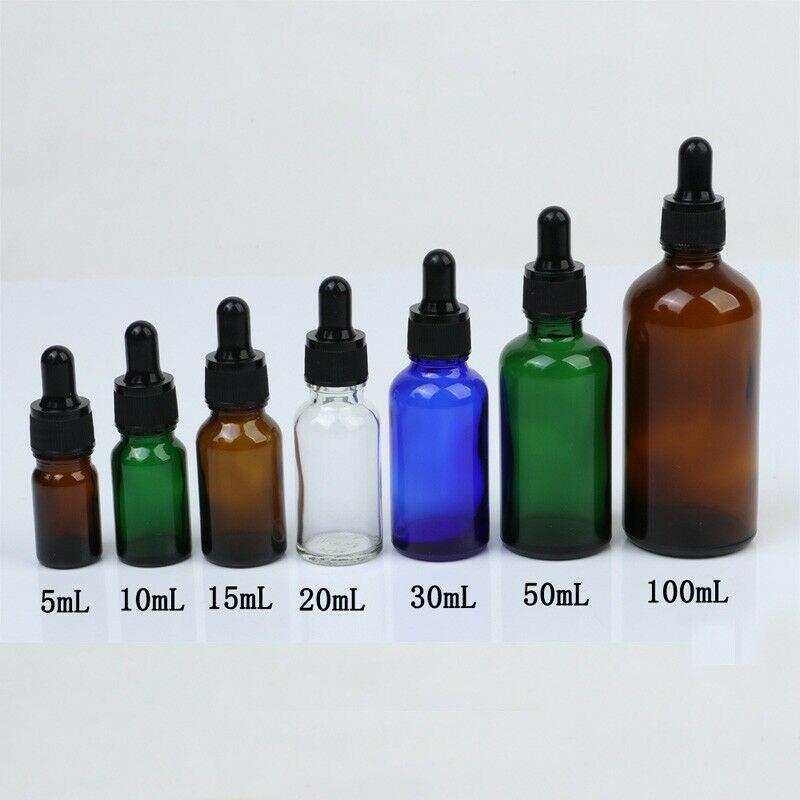 Ml-50 5ml Colorido de Vidro Âmbar Dropper Garrafas Vazias de Óleo Da Árvore do Chá Essencial Aromaterapia Perfume Recipiente Líquido Pipeta garrafa