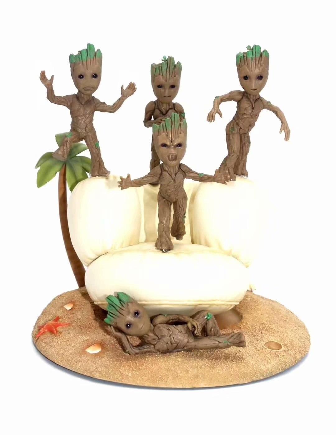 5Pcs The Avengers Groot Little Tree Man Modeling Decoration Boxed Figure 4-8cm