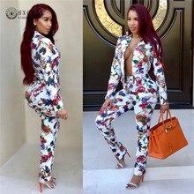 2020 nouvelles femmes Blazer costume mode fleur imprimé à manches longues veste Blazers formel pantalon costumes automne bureau uniforme Okd031