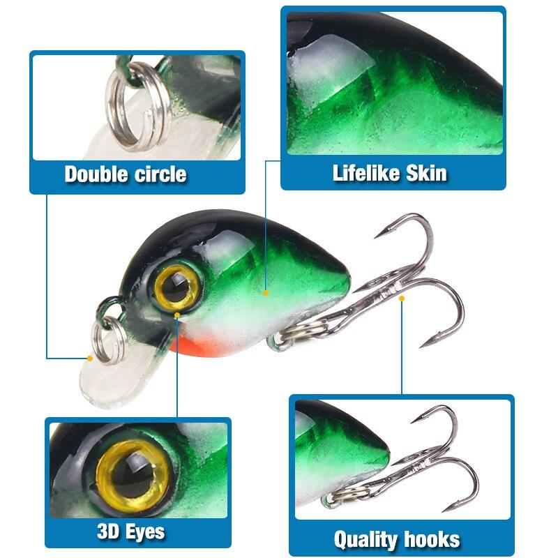 1Pcs דיג פתיונות Bionic מיני מינאו Bait30mm 3D עיני מלאכותי קשה פיתיון Wobblers Crankbait וו מוט קרפיון קרס דיג