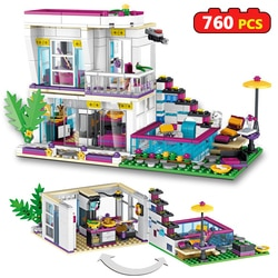 760 pçs blocos de construção livi pop star casa compatível amigos empilhamento tijolos figuras brinquedos para meninas crianças