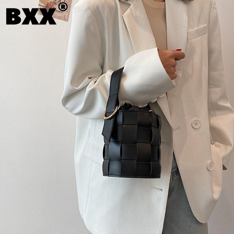 [BXX] Woman New Mini Bucket Handbag PU Leather Personality All-match Crossbody Shoulder Bag Fashion Tide Autumn 2021 GF0509