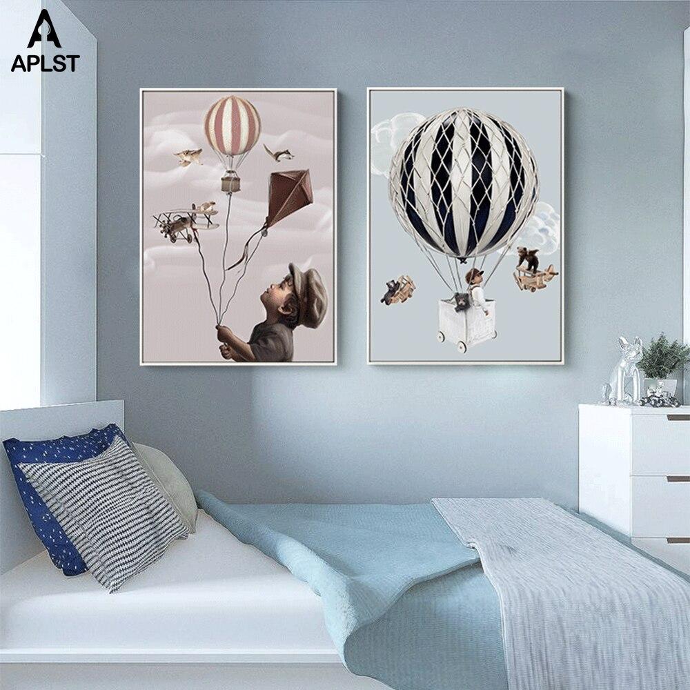 Pósteres e impresiones creativos de lona para niños, para guardería, globo de decoración, Kite Old Plane, pinturas para bebés y niños, imágenes para dormitorio
