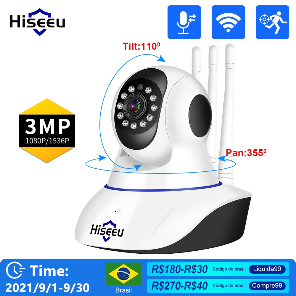 Hiseeu 5MP 1080P IP Camera WIFI Wireless Smart Home Security Camera Surveillance 2-Way Audio CCTV Pet Camera Baby Monitor ICsee