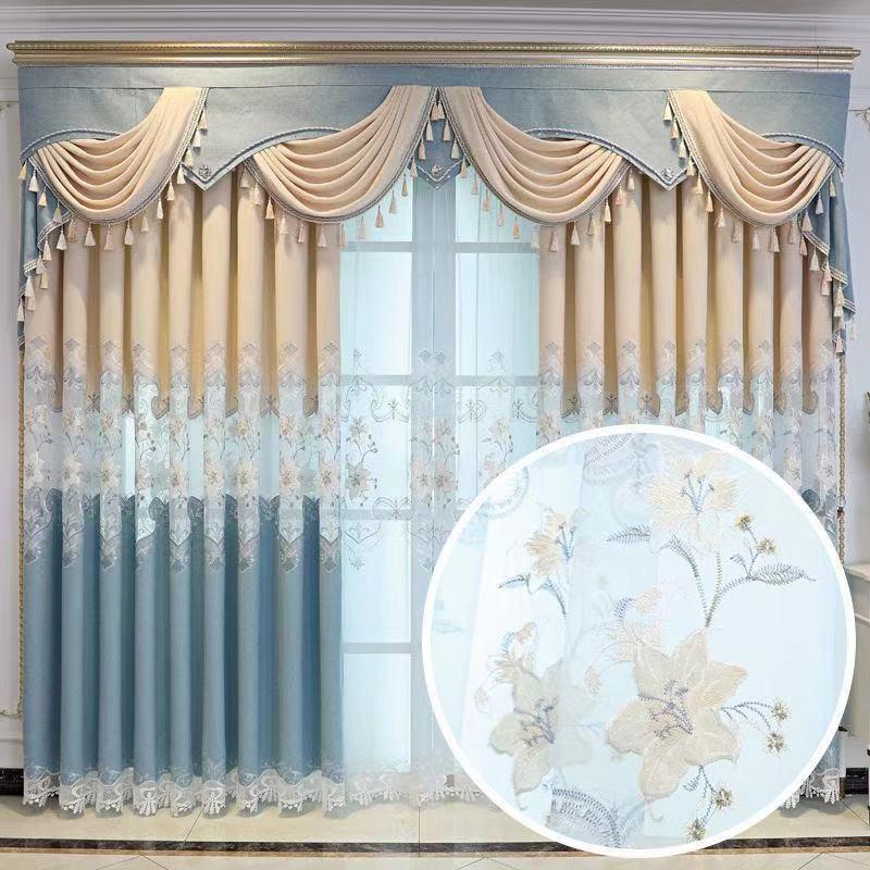 Китайско-европейские пустотелые водорастворимые вышитые занавески для высококачественной виллы, спальни, гостиной, светонепроницаемые занавески на заказ