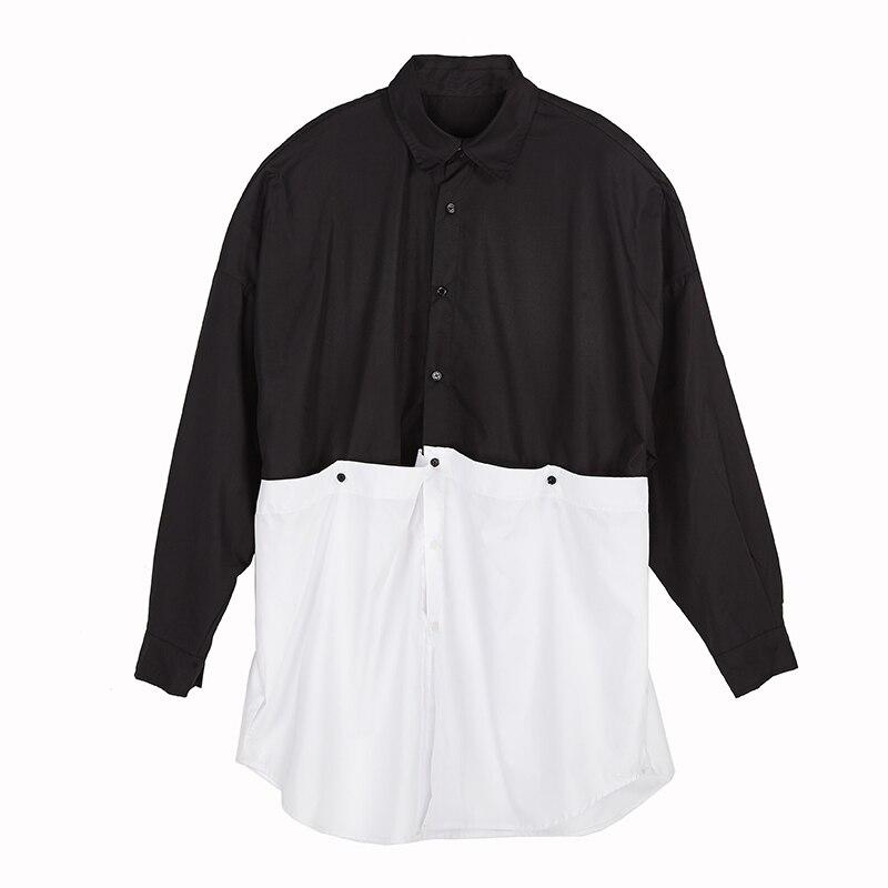 Estilo japonês yohji homens escuridão gótico oversize camisa passarela high street owen ro t camisa outwear camisa clube chemise homme