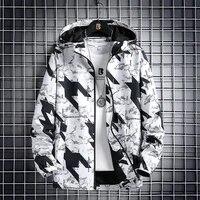 2021 new mens jacket big hooded windbreaker zipper placket jacket leisure printing is popular in youth 109 5883