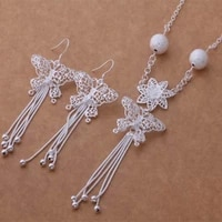 hot party 925 silver temperament charm matte hanging beads butterfly fringe necklace drop earrings fashion women jewelry sets