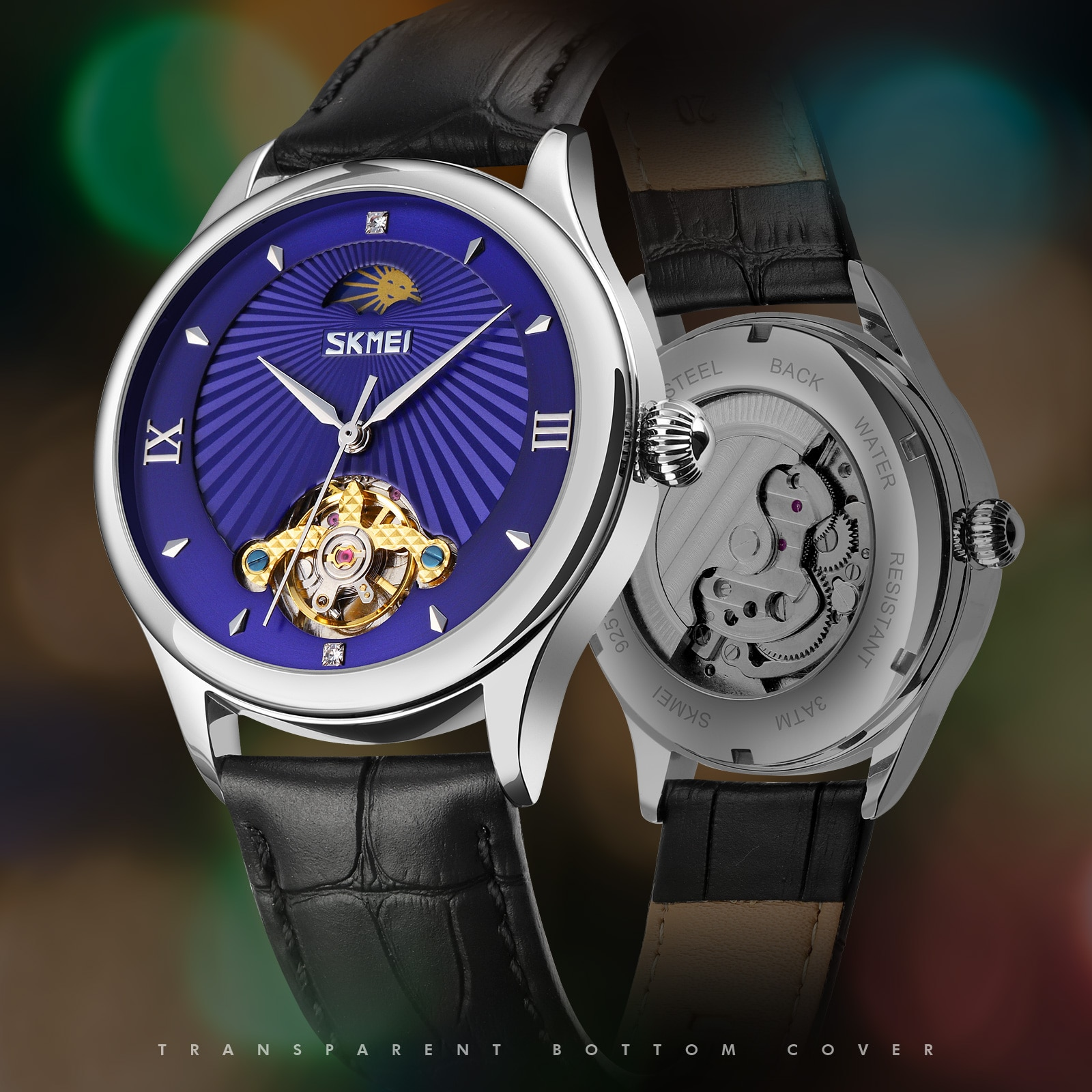 Relógios de Pulso Pulseira de Couro Fase da Lua Skmei Moda Automática Relógios Mecânicos Oco Dial Masculino Relógio Reloj Hombre