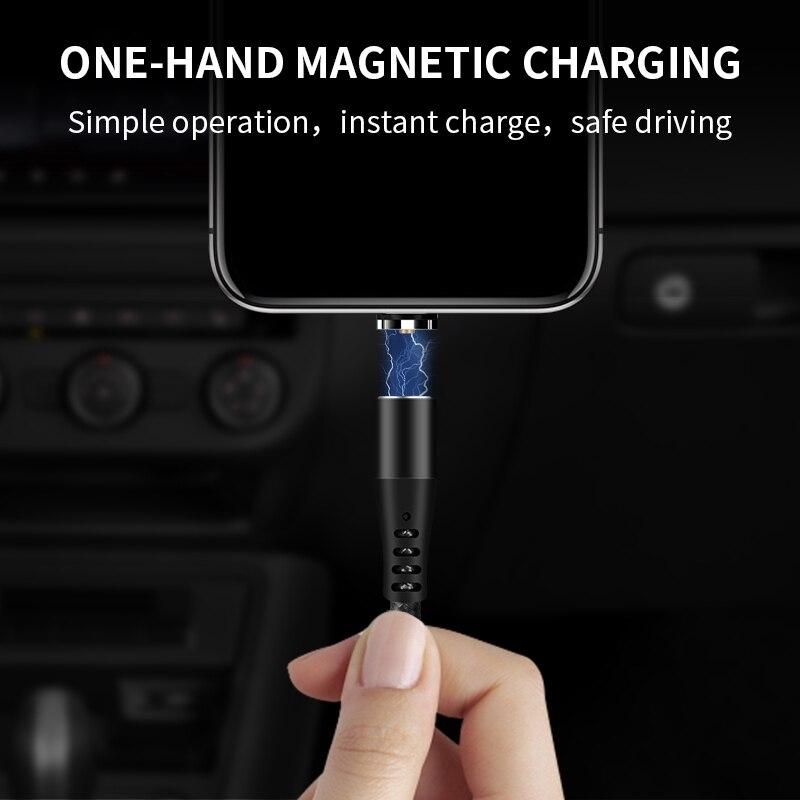 Cable magnético giratorio de carga rápida, cargador magnético, Micro USB tipo C,...