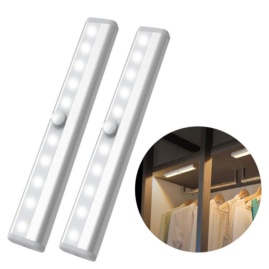 Wireless LED Cabinet PIR Motion Sensor Light Rechargeable 10 led Closet Wall lamp Wardrobe Bar Motion Sensor Night Light Lamp