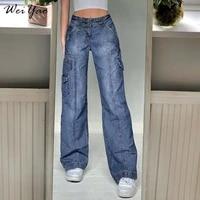 weiyao streetwear cargo pants baggy mom jeans woman high waist wide leg pants vintage aesthetic 90s korean denim trousers