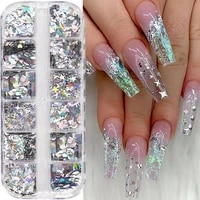 12 grids holographic laser nail sequins mixed triangle moon star heart silver glitter flakes paillette tools nail art decoration