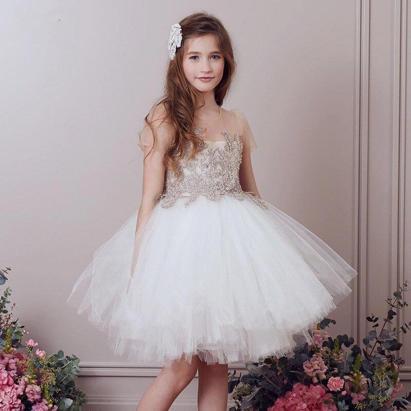 فستان دانتيل منفوش للبنات من سن 2 إلى 12 سنة ، بدلة للتواصل الأول ، ثوب كرة للأطفال