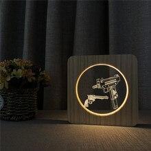 Sous-mitrailleuse forme 3D LED acrylique en bois lampe de nuit Table lumière interrupteur contrôle sculpture lampe pour chambre denfants décorer