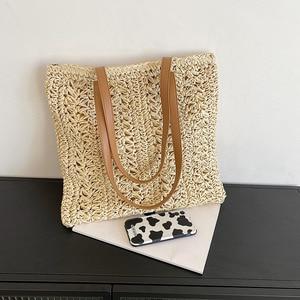 Casual Hollow Straw Shoulder Bags Women High Capacity Knitted Handbag Hand-woven Summer Beach Bag Vintage Straw Woven Bag Purses