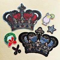 30pcslot large bead sequin applique embroidery patches crown star clothing decoration garment accessories iron heat transfer