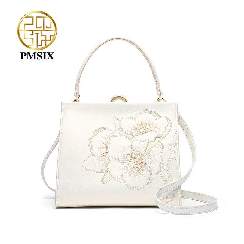 حقائب يد نسائية من جلد البقر PMSIX ، حقيبة كتف أنيقة ، حقيبة كتف بيضاء بسيطة ، 2020