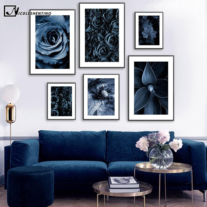Blau Rose, Blume, Blatt Poster Skandinavischen Leinwand Druck Botanische Wand Kunst Bild Malerei Nordic Stil Moderne Wohnzimmer Decor