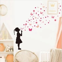 2pcs new girl butterfly wall stickers for childrens room bedroom background wall decoration removable self adhesive home decal