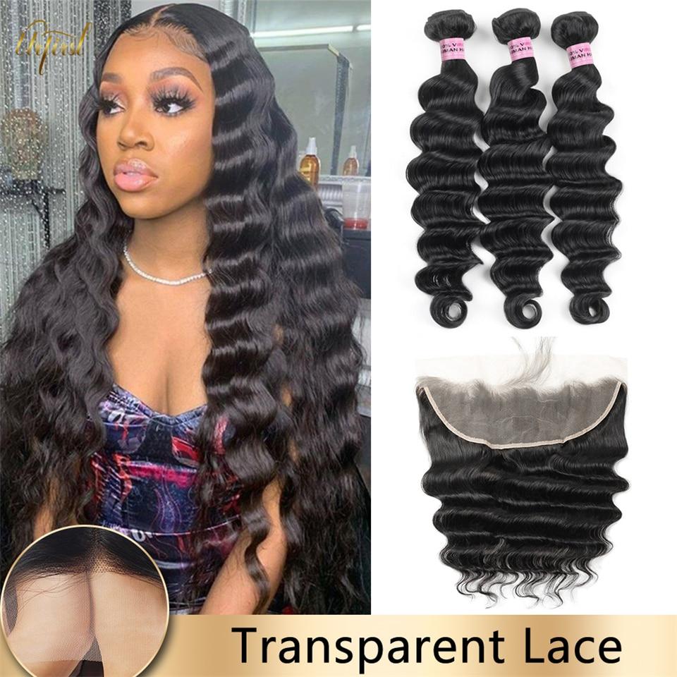 Transparent Lace Frontal With Hair Bundles Brazilian Loose Deep Wave Hair Bundle With Frontal Human Hair Bundles For Black Women