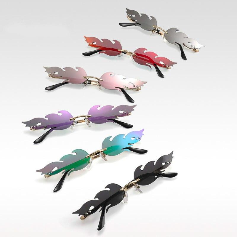 2020 Men Rimless Wave Sun Glasses Eyewear Luxury Trending Narrow vintage Eyeglasses Cool Street Beat