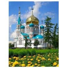 5D broderie diamant photo décor à la maison peinture pleine ronde perceuse russie bâtiment église point de croix art mural cadeau fait main