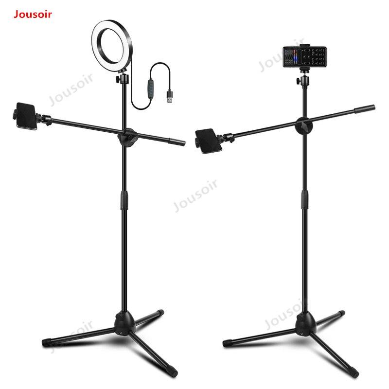 Lámpara de anillo de luz de relleno LED + soporte de fotografía de teléfono ajustable + Kit de estudio de foto de brazo de pluma CD50 t03