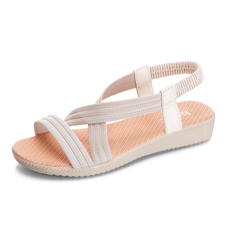 Women's Flat Sandals 2021 New Summer Casual Elastic Band Female Sandals Solid Color Woman Beach Sandal Summer Plus Size 42