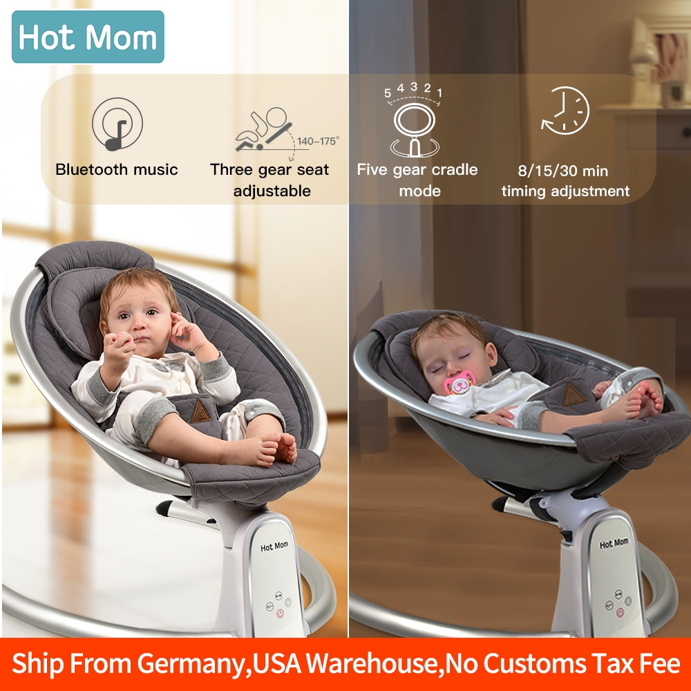 Electric Baby Bouncers with Bluetooth and Five Gear Swing,Hot Mom Intelligence Timing Baby Swing,Pure Cotton Baby Rocker Cardle
